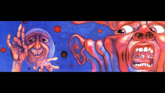 "cover(s) to ""Court of the Crimson King"" by King Crimson, painted by  Barry Godber (1946-1970)"