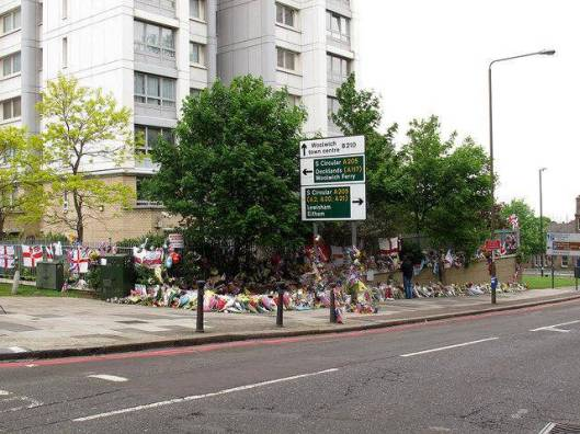 Lee Rigby tributes in front of Elliston House